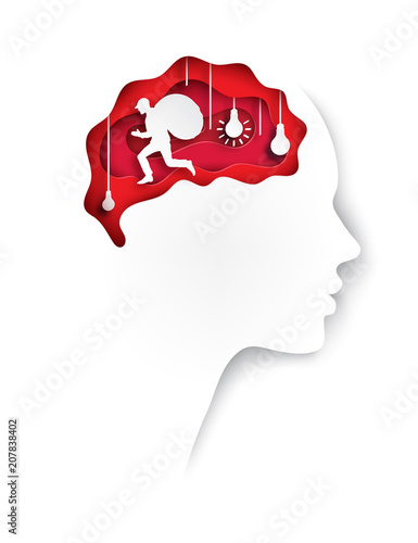 Layered Paper Cut Out Colored Human Profile With Brain Lightbulb And Man Stealing Ideas