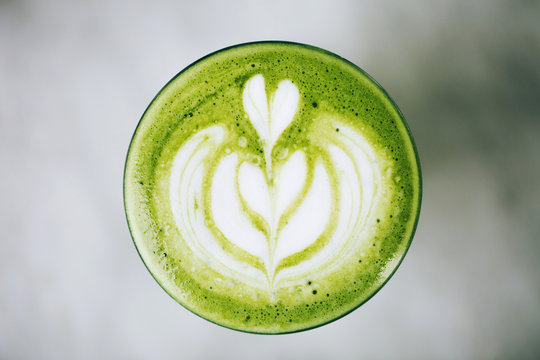 Green latte from above