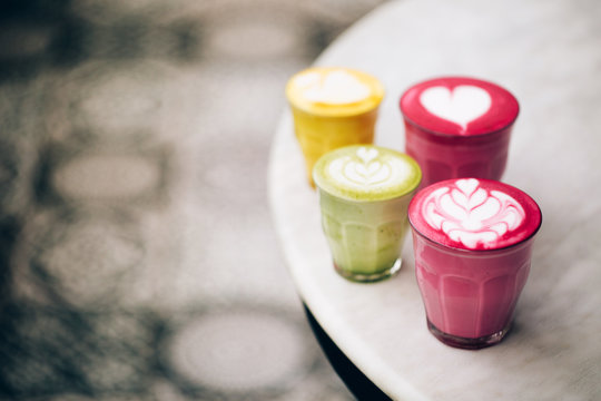 Trendy multicolored lattes.