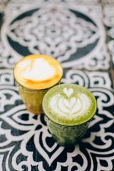 Trendy multicolored lattes.