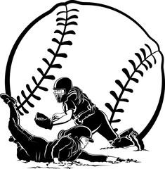 Softball Runner Sliding Under Tag At Home