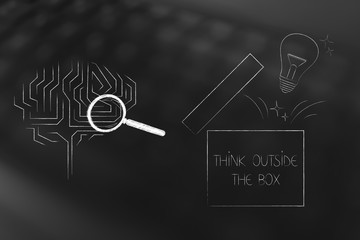 brain icon next to open box with lightbulb think outside the box