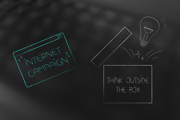 internet campaign pop-up next to open box with lightbulb think outside the box