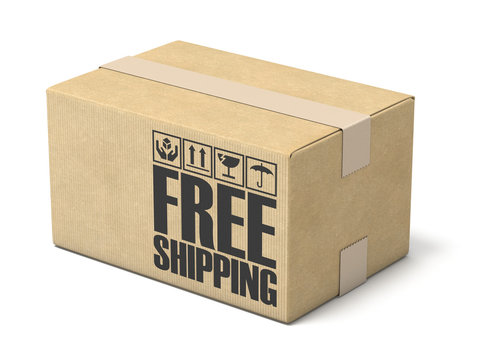 Free shipping cardboard box 3D rendering illustration on white background