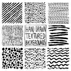 Hand drawn textures, template. Hatching drawn pattern, vector design elements Vector set of background texture, points, strokes, ornament in grunge style