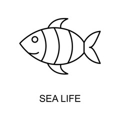 sea life outline icon. Element of enviroment protection icon with name for mobile concept and web apps. Thin line sea life icon can be used for web and mobile