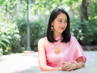Thai woman in Thai traditional dress.