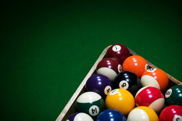 Billiards green table with balls