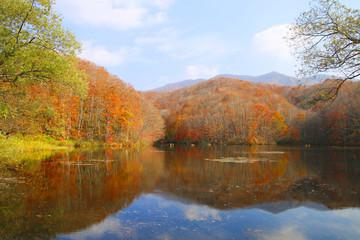 秋の曲沢沼(裏磐梯・北塩原村)