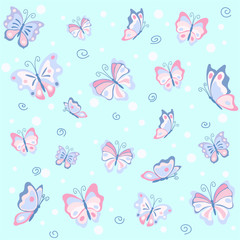 Pink butterfly ion the blue seamless pattern