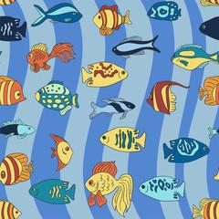 Aquarium fish on the blue waves pattern