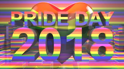 Pride Day 2018 LGBTQIA Gay Pride LGBT Mardi Gras graphic title 3D render