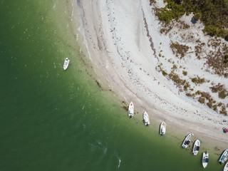 beach aerial drone above view white sand boats sea water island