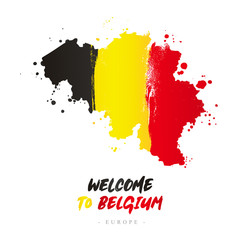 Welcome to Belgium. Flag and map of the country