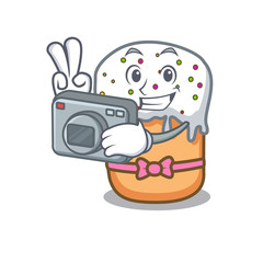 Photographer easter cake mascot cartoon