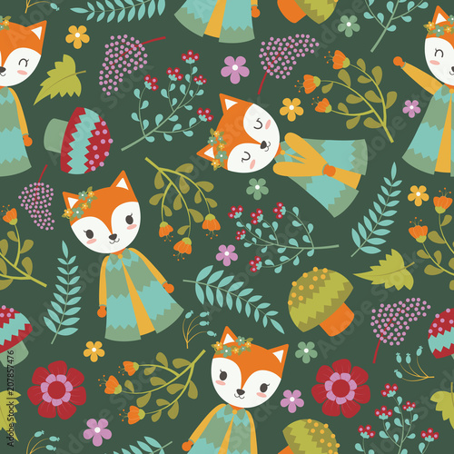 Seamless Pattern With Cute Fox And Flowers On Dark Background Vector