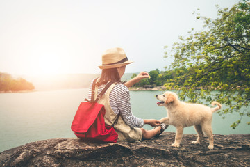 Female tourists and beloved dogs in beautiful nature in a tranquil setting.