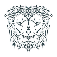 Ornamental tattoo lion head. Abstract hand drawn style