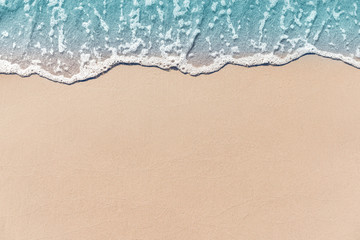Close up soft wave lapped the sandy beach, Summer Background. Wall mural