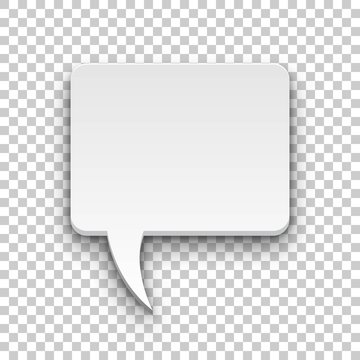 Comics bubble volume square transparent background. Single object for magazines and reminders. Vector illustration of utterance element