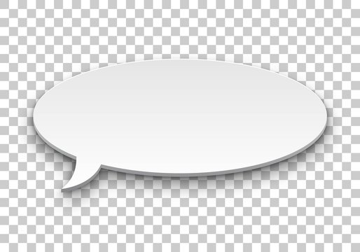 Quote balloon volume oval transparent background. Single object for comics and reminders. Vector illustration of utterance element