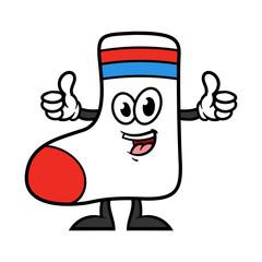 Cartoon Sock Character Giving Thumbs Up