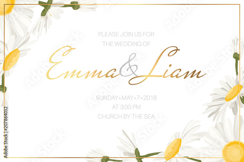 Wedding Event Invitation Card Template Daisy Chamomile Wild Flowers Border Frame On White Background