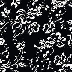 Seamless black and white abstract floral pattern