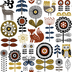 Hand drawn seamless vector pattern on white background. Scandinavian style drawing of flowers, woodland animals and traditional motifs. Perfect for fabric, wallpaper or wrapping paper.