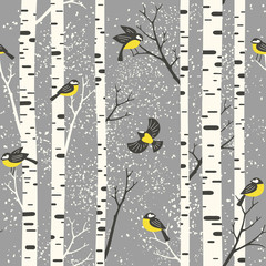 Snowy birch trees and birds on light grey background. Seamless vector pattern. Perfect for fabric, wallpaper, giftwrap or postcard design.