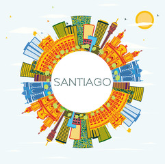 Santiago Chile Skyline with Color Buildings, Blue Sky and Copy Space.