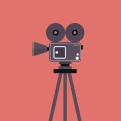 Movie camera on tripod