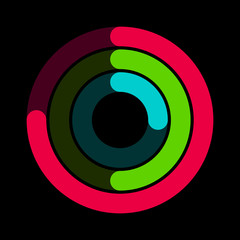 Circular red, green and blue activity ring flat vector icon for watch apps and websites