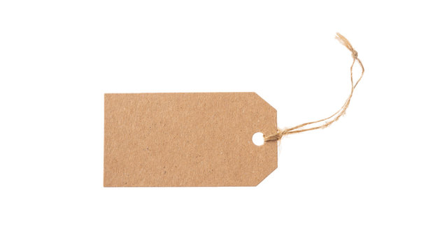 Beige recycled tag isolated on a white background