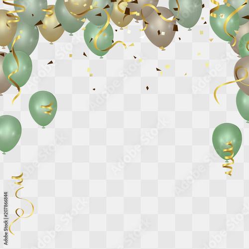 Happy Birthday Vector Illustration Confetti And Ribbons Gold Orange