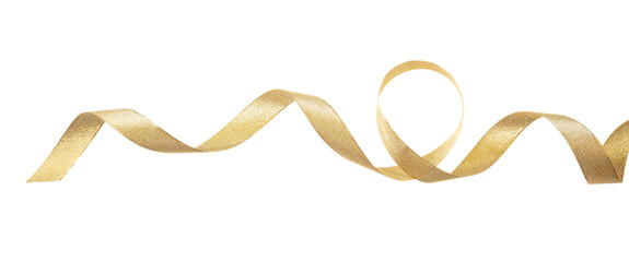 Golden satin ribbon isolated on white background, banner