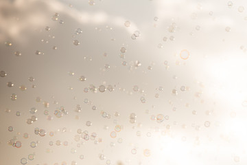 Abstract background Soap bubbles on sky