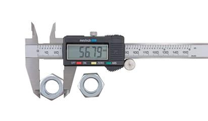 Measuring big steel nut with vernier calipers
