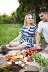 Loving boyfriend and girl on picnic in summer