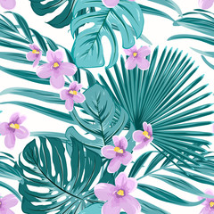 Exotic tropical floral greenery seamless pattern texture. Green jungle palm tree mostera coconut leaves. Violet purple flowers. Vector design illustration for fashion, textile, fabric, wrapping.