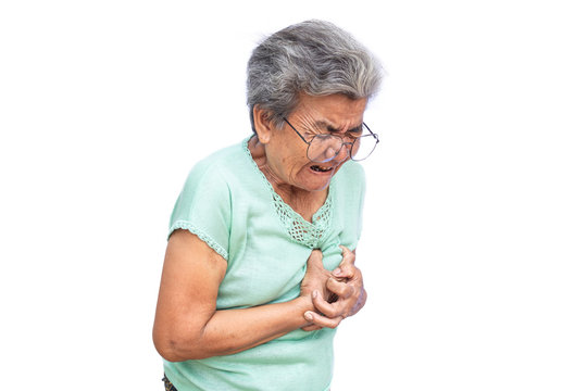 Old woman felt heart ache on white background,Illness of the elderly problem concept.