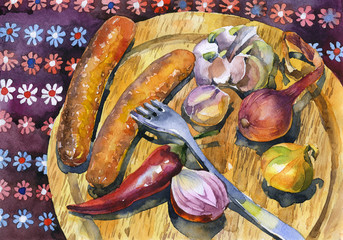 Rustic, homemade, juicy, appetizing, delicious lunch. Fried sausages and vegetables. Watercolor. Illustration