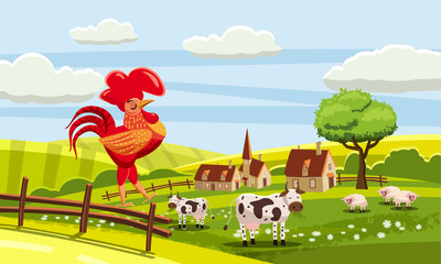 Rural cute farm view, cow, sheep, cock sitting on a fence, vector, illustration, isolated, cartoon style