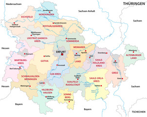 thuringia administrative and political vector map