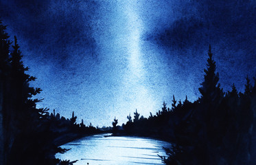 Dark night. Black silhouettes of spruce forest and surface of lake on a background of night sky. Hand drawn on a wet paper real watercolor illustration.