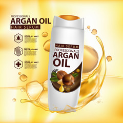 argan oil hair care protection contained in bottle background 3d illustration