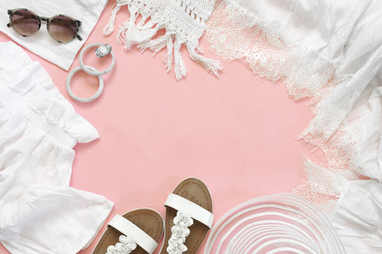 Set of white clothes and accessories