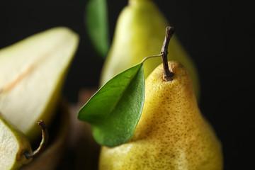 Delicious ripe pear, closeup