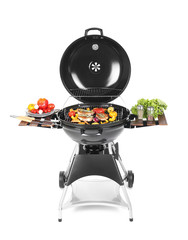 Modern barbecue grill with tasty food on white background