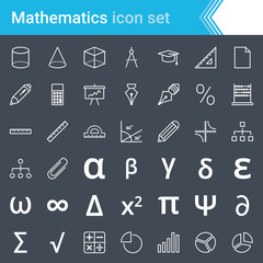 Modern, stroked mathematics icons isolated on dark background.